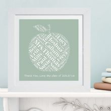 Framed Teacher Apple Word Cloud - Ideal gift or leaving present for a Teacher